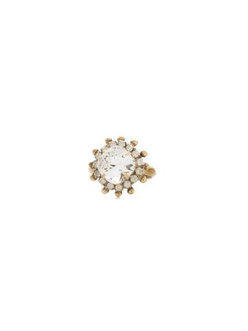 California Poppy Ring in Antique Gold-tone White Magnolia
