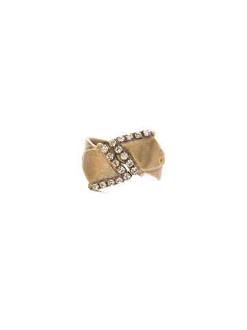 Points of View Ring in Antique Gold-tone Crystal