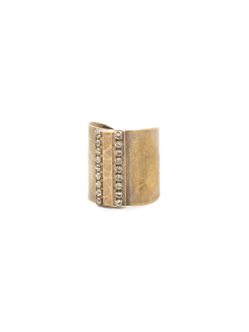 All Lined Up Ring in Antique Gold-tone Crystal