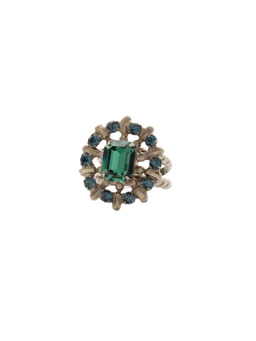 Abelia Ring in Antique Silver-tone Blue Suede