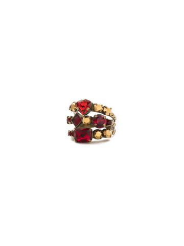 Sedge Stacked Ring in Antique Gold-tone Go Garnet