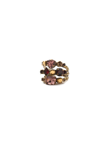 Sedge Stacked Ring in Antique Gold-tone Mighty Maroon
