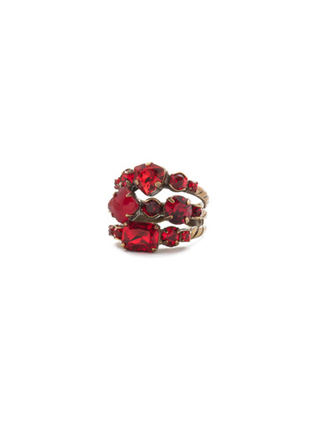 Sedge Stacked Ring in Antique Gold-tone Sansa Red