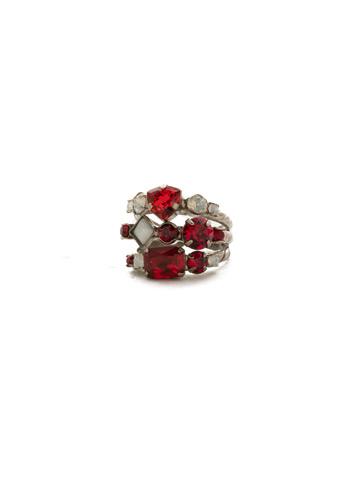 Sedge Stacked Ring in Antique Silver-tone Crimson Pride