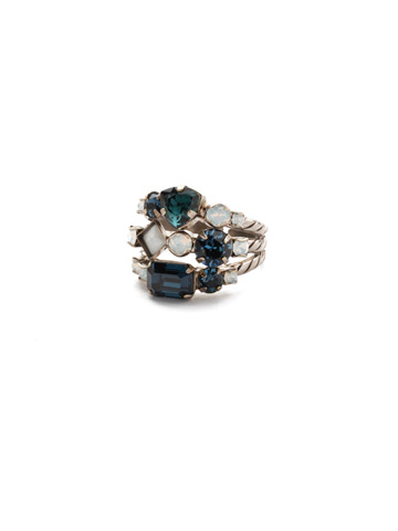 Sedge Stacked Ring in Antique Silver-tone Glory Blue