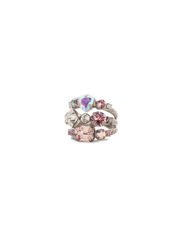Sedge Stacked Ring in Antique Silver-tone Misty Pink