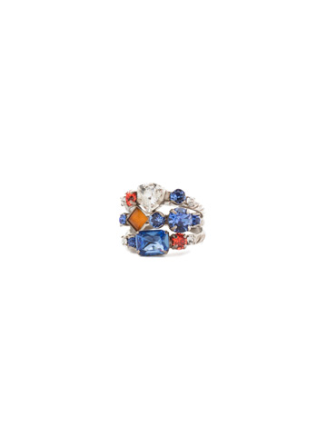 Sedge Stacked Ring in Antique Silver-tone Orange Crush