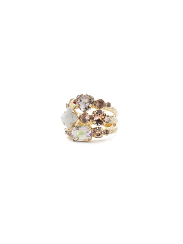 Sedge Stacked Ring in Bright Gold-tone Silky Clouds