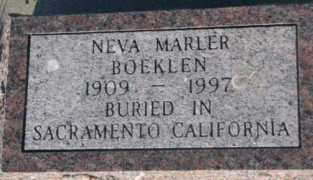MARLER BOEKLEN, NEVA - Aurora County, South Dakota | NEVA MARLER BOEKLEN - South Dakota Gravestone Photos