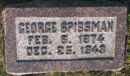 SPISSMAN, GEORGE - Aurora County, South Dakota | GEORGE SPISSMAN - South Dakota Gravestone Photos
