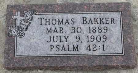 BAKKER, THOMAS - Bon Homme County, South Dakota   THOMAS BAKKER - South Dakota Gravestone Photos