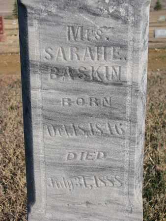BASKIN, SARAH E. (CLOSEUP) - Bon Homme County, South Dakota   SARAH E. (CLOSEUP) BASKIN - South Dakota Gravestone Photos