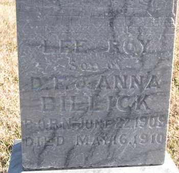 BILLICK, LEE ROY (CLOSEUP) - Bon Homme County, South Dakota   LEE ROY (CLOSEUP) BILLICK - South Dakota Gravestone Photos