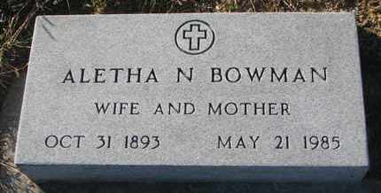 BOWMAN, ALETHA N. - Bon Homme County, South Dakota | ALETHA N. BOWMAN - South Dakota Gravestone Photos