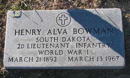 BOWMAN, HENRY ALVA - Bon Homme County, South Dakota | HENRY ALVA BOWMAN - South Dakota Gravestone Photos