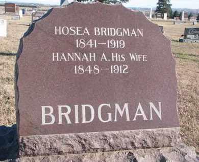 BRIDGMAN, HANNAH A. - Bon Homme County, South Dakota | HANNAH A. BRIDGMAN - South Dakota Gravestone Photos