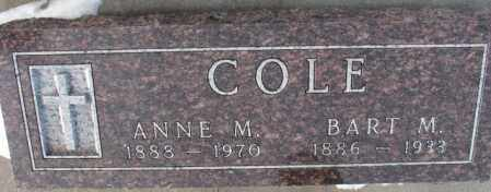 COLE, BART M. - Bon Homme County, South Dakota | BART M. COLE - South Dakota Gravestone Photos