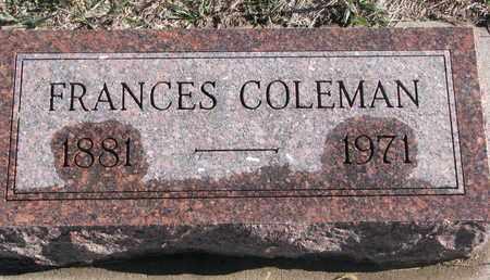 COLEMAN, FRANCES - Bon Homme County, South Dakota | FRANCES COLEMAN - South Dakota Gravestone Photos