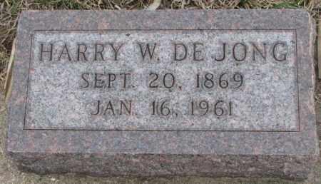 DE JONG, HARRY W. - Bon Homme County, South Dakota | HARRY W. DE JONG - South Dakota Gravestone Photos