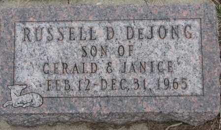 DE JONG, RUSSELL D. - Bon Homme County, South Dakota   RUSSELL D. DE JONG - South Dakota Gravestone Photos