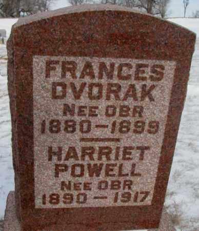 OBR DVORAK, FRANCES - Bon Homme County, South Dakota   FRANCES OBR DVORAK - South Dakota Gravestone Photos