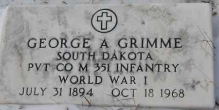 GRIMME, GEORGE A. (WW I) - Bon Homme County, South Dakota   GEORGE A. (WW I) GRIMME - South Dakota Gravestone Photos