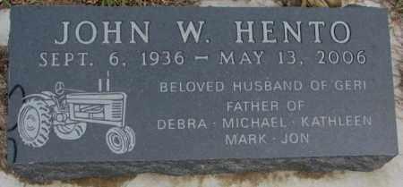 HENTO, JOHN W. - Bon Homme County, South Dakota | JOHN W. HENTO - South Dakota Gravestone Photos