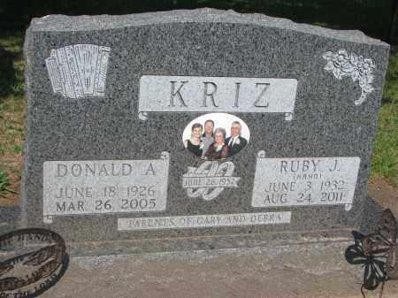KRIZ, DONALD A. - Bon Homme County, South Dakota   DONALD A. KRIZ - South Dakota Gravestone Photos
