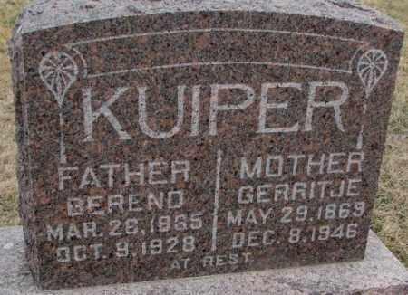KUIPER, BEREND - Bon Homme County, South Dakota | BEREND KUIPER - South Dakota Gravestone Photos