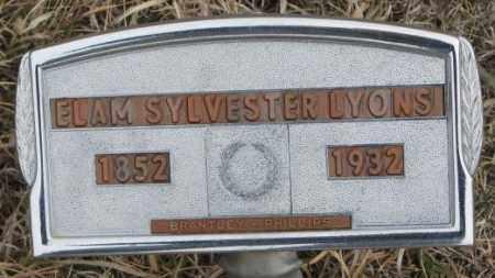 LYONS, ELAM SYLVESTER - Bon Homme County, South Dakota   ELAM SYLVESTER LYONS - South Dakota Gravestone Photos