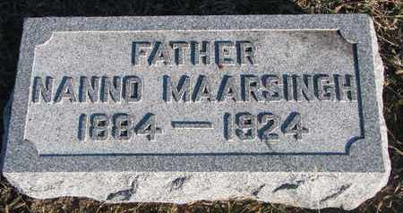 MAARSINGH, NANNO - Bon Homme County, South Dakota | NANNO MAARSINGH - South Dakota Gravestone Photos