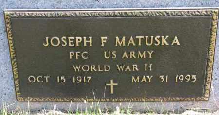 MATUSKA, JOSEPH F. (WW II) - Bon Homme County, South Dakota | JOSEPH F. (WW II) MATUSKA - South Dakota Gravestone Photos
