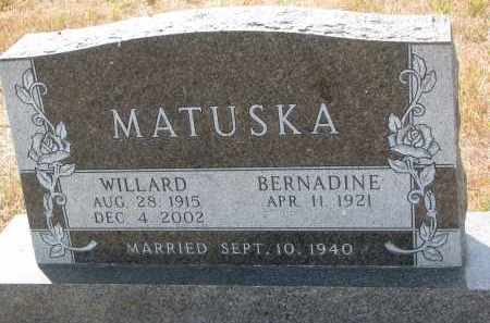 MATUSKA, WILLARD - Bon Homme County, South Dakota | WILLARD MATUSKA - South Dakota Gravestone Photos