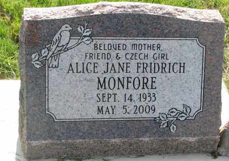 MONFORE, ALICE JANE - Bon Homme County, South Dakota | ALICE JANE MONFORE - South Dakota Gravestone Photos