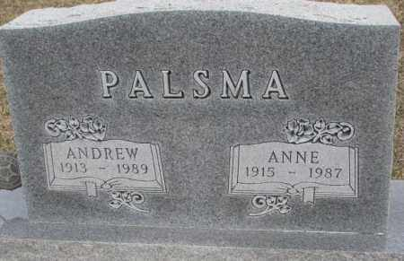 PALSMA, ANNE - Bon Homme County, South Dakota | ANNE PALSMA - South Dakota Gravestone Photos