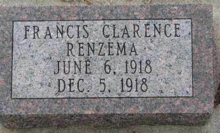 RENZEMA, FRANICE CLARENCE - Bon Homme County, South Dakota | FRANICE CLARENCE RENZEMA - South Dakota Gravestone Photos