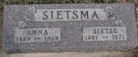 SIETSMA, SIETSE - Bon Homme County, South Dakota | SIETSE SIETSMA - South Dakota Gravestone Photos