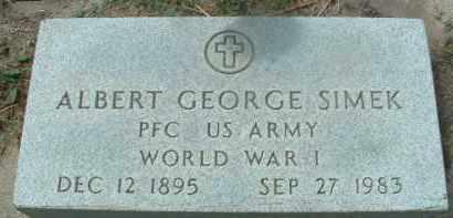 SIMEK, ALBERT GEORGE - Bon Homme County, South Dakota | ALBERT GEORGE SIMEK - South Dakota Gravestone Photos