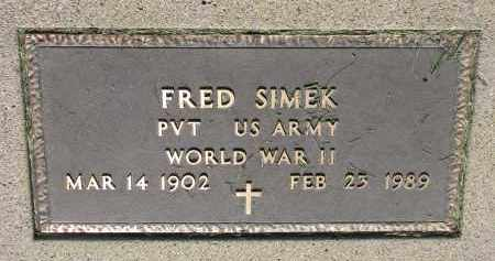 SIMEK, FRED - Bon Homme County, South Dakota   FRED SIMEK - South Dakota Gravestone Photos