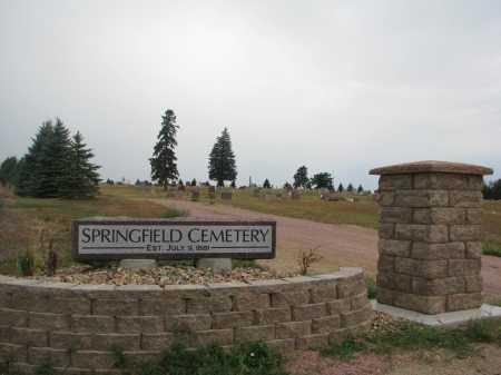 *SPRINGFIELD, ENTRY & NOTES - Bon Homme County, South Dakota | ENTRY & NOTES *SPRINGFIELD - South Dakota Gravestone Photos