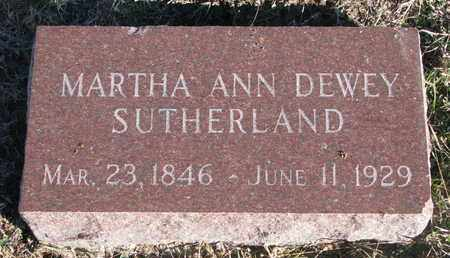 DEWEY SUTHERLAND, MARTHA ANN - Bon Homme County, South Dakota | MARTHA ANN DEWEY SUTHERLAND - South Dakota Gravestone Photos