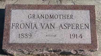 VAN ASPEREN, FRONIA - Bon Homme County, South Dakota | FRONIA VAN ASPEREN - South Dakota Gravestone Photos