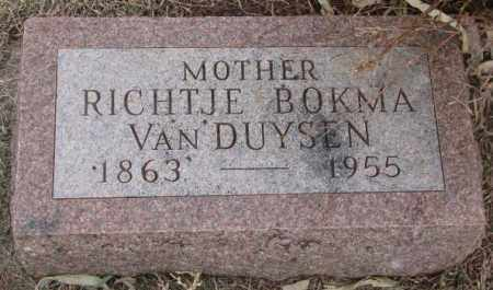 BOKMA VAN DUYSEN, RICHTJE - Bon Homme County, South Dakota | RICHTJE BOKMA VAN DUYSEN - South Dakota Gravestone Photos