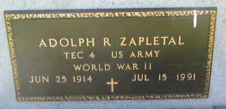 ZAPLETAL, ADOLPH R. (WW II) - Bon Homme County, South Dakota | ADOLPH R. (WW II) ZAPLETAL - South Dakota Gravestone Photos