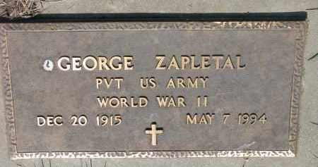 ZAPLETAL, GEORGE - Bon Homme County, South Dakota | GEORGE ZAPLETAL - South Dakota Gravestone Photos