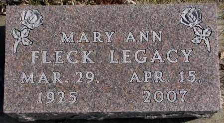 FLECK LEGACY, MARY ANN - Brookings County, South Dakota   MARY ANN FLECK LEGACY - South Dakota Gravestone Photos