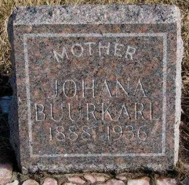 BUURKARL, JOHANA - Charles Mix County, South Dakota | JOHANA BUURKARL - South Dakota Gravestone Photos