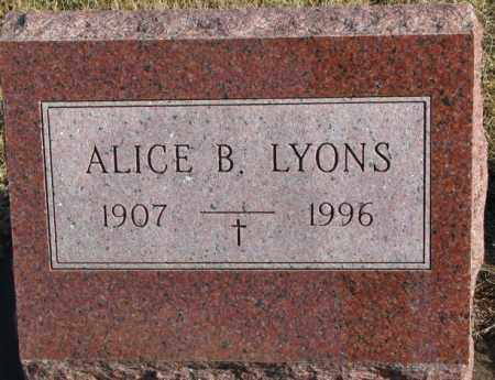 LYONS, ALICE B. - Charles Mix County, South Dakota   ALICE B. LYONS - South Dakota Gravestone Photos