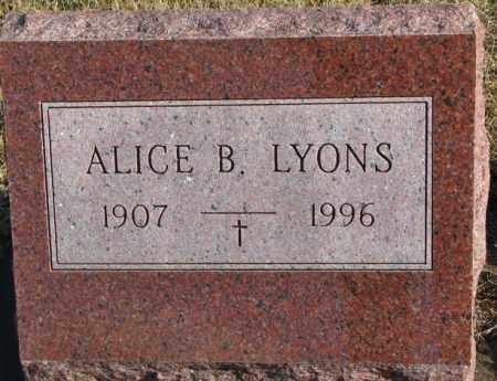 LYONS, ALICE B. - Charles Mix County, South Dakota | ALICE B. LYONS - South Dakota Gravestone Photos