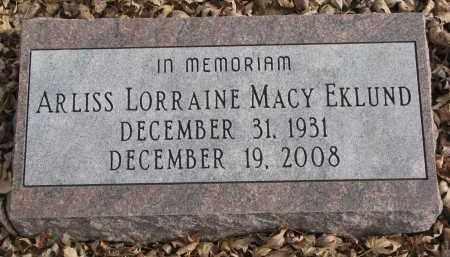 EKLUND, ARLISS LORRAINE - Clay County, South Dakota | ARLISS LORRAINE EKLUND - South Dakota Gravestone Photos